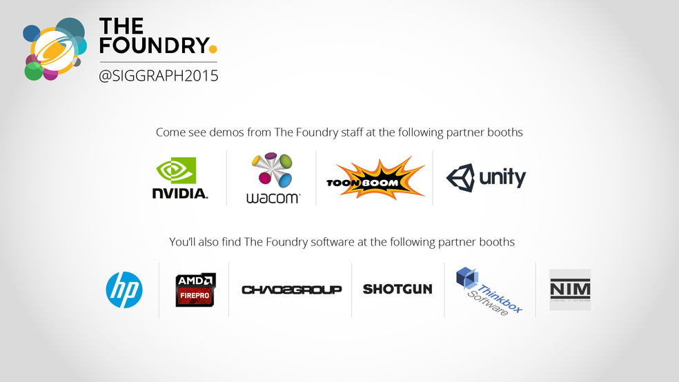 FOUNDRY SIGGRAPH 2015 partner booth schedule