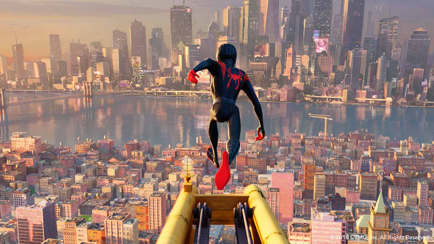 Spiderman jumping off the building