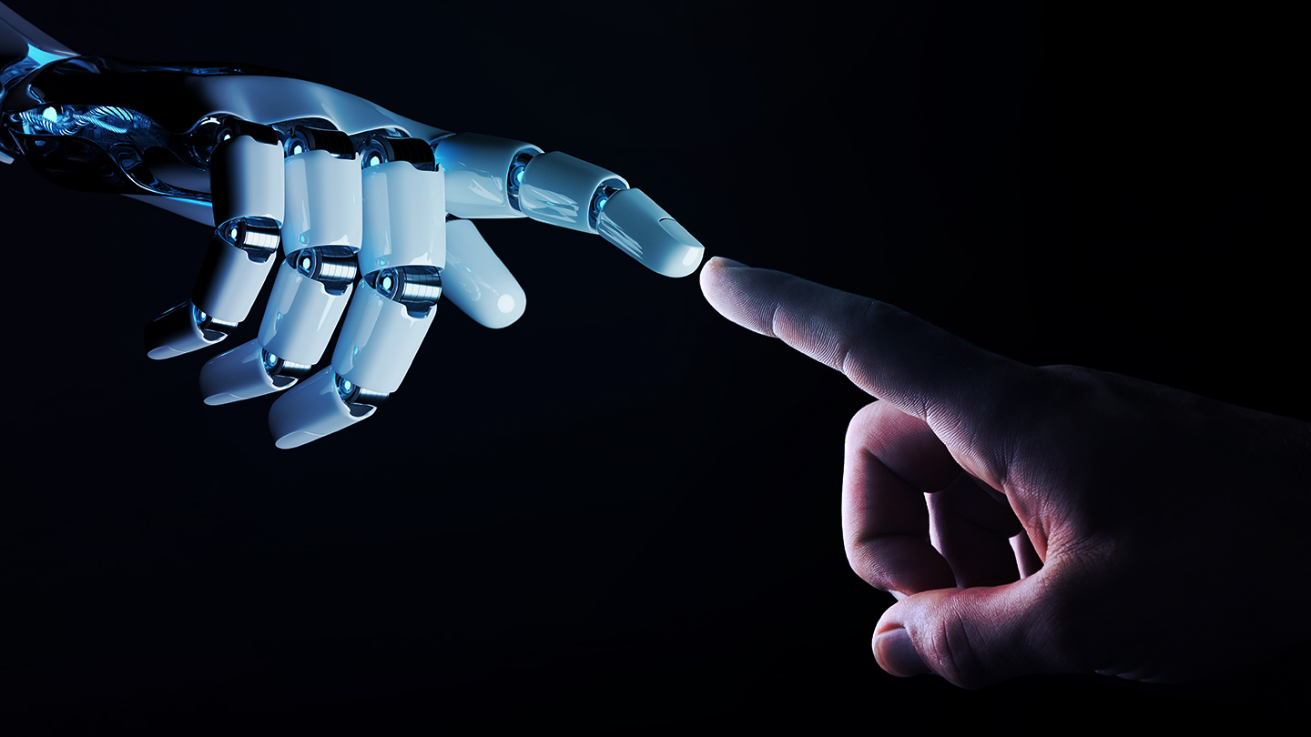 3d robot skeleton hand touching human hand