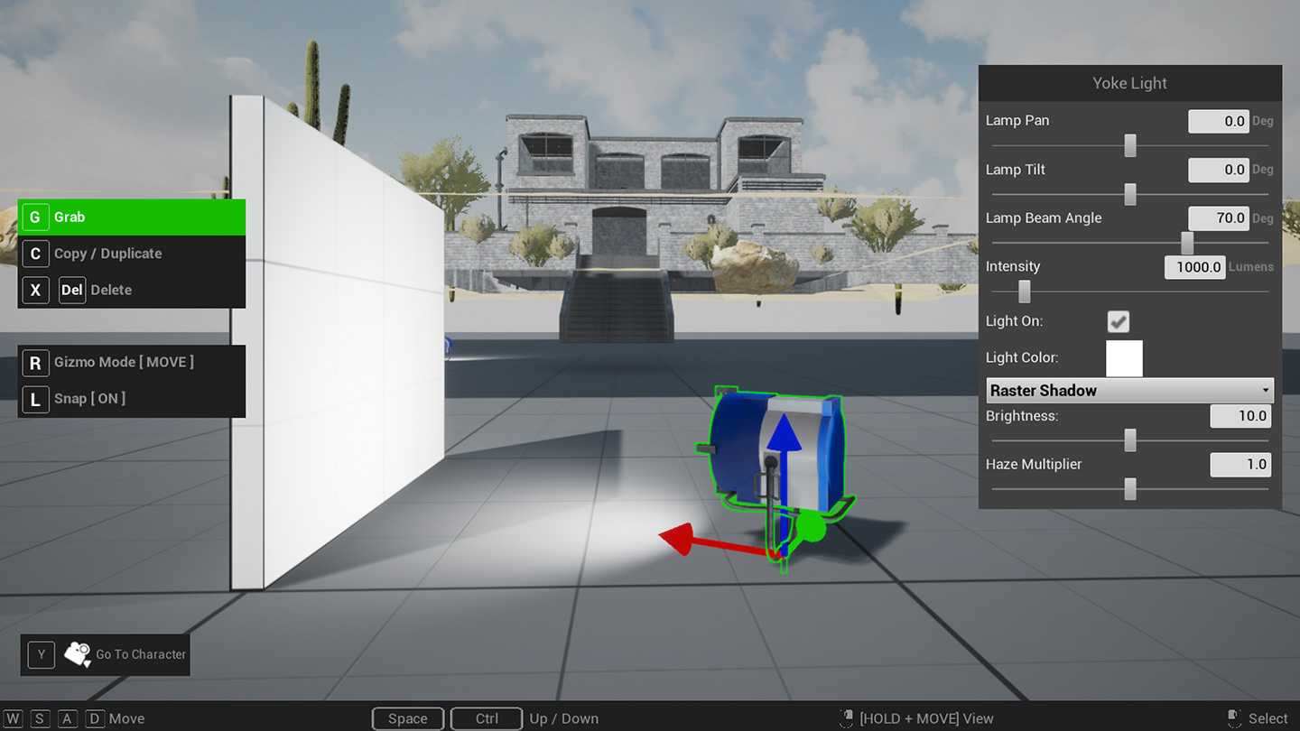 Screengrab of Cine Tracer showing light placement