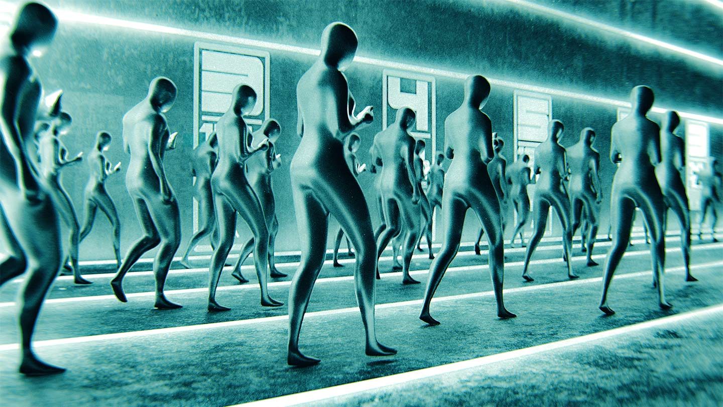 Futuristic figures marching