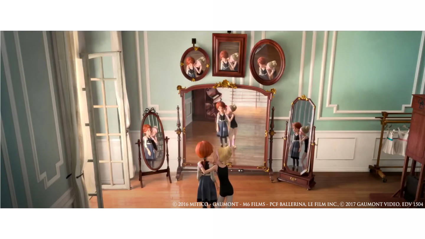 Ballerina and girl in front of mirror