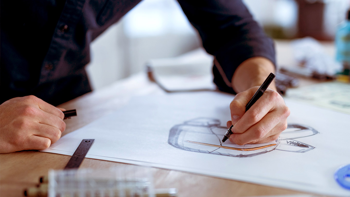 Design visualisation person sketching