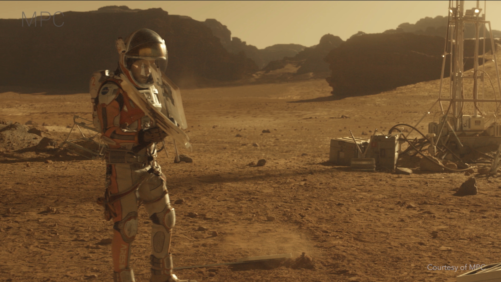 Nuke composits other worlds in this still from The Martian by Ridley Scott