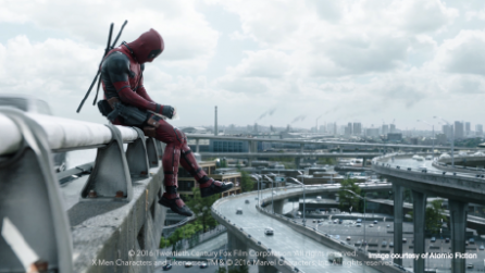 Deadpool on bridge