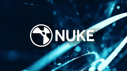 Abstract glowing imagery with Nuke logo