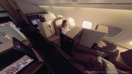 Still from Etihad Airways VR tour of their A380 Airbus with Nicole Kidman