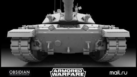 3d modeling tank high res front with Modo
