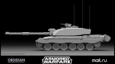3d modeling tank high res side with Modo