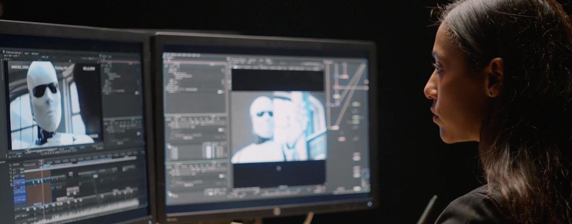 Woman using Nuke on Computer