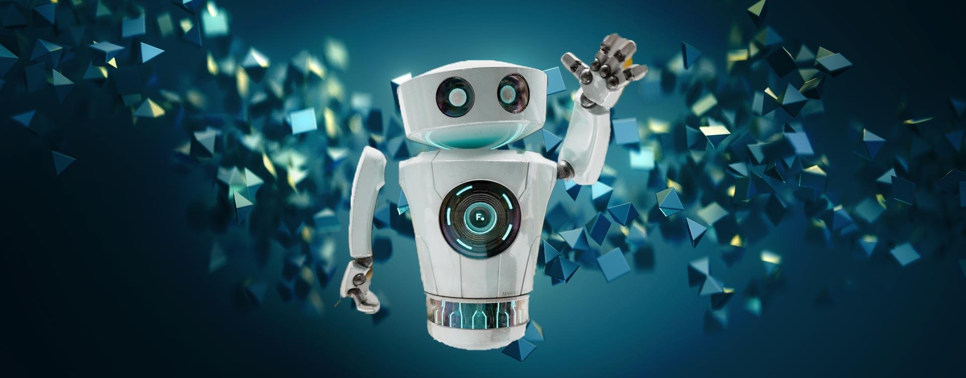 3D robot against abstract background