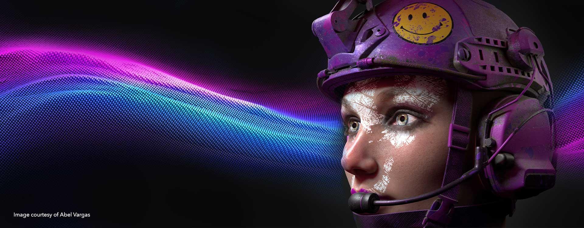 3D textured image of girl in helmet