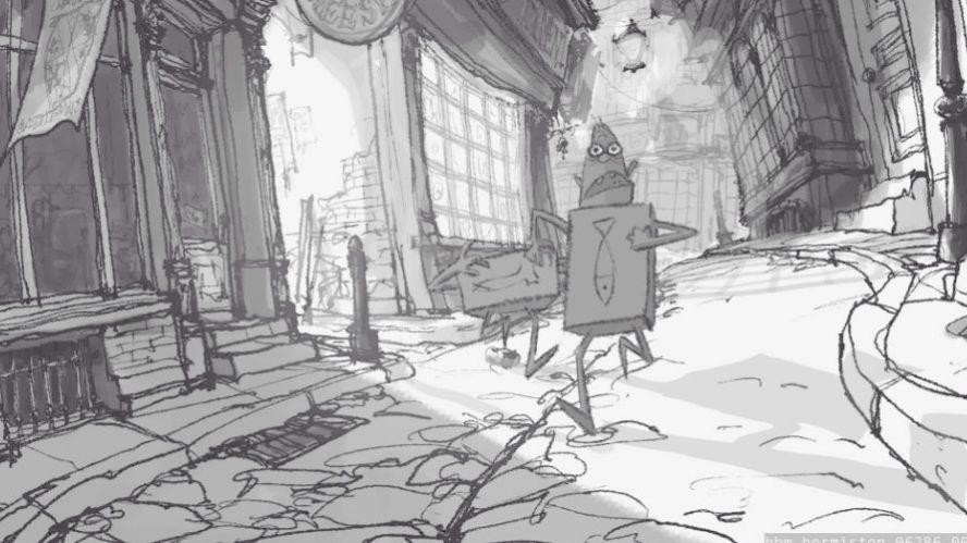 A storyboard from the stop-motion film Boxtrolls showcasing Foundry's Flix