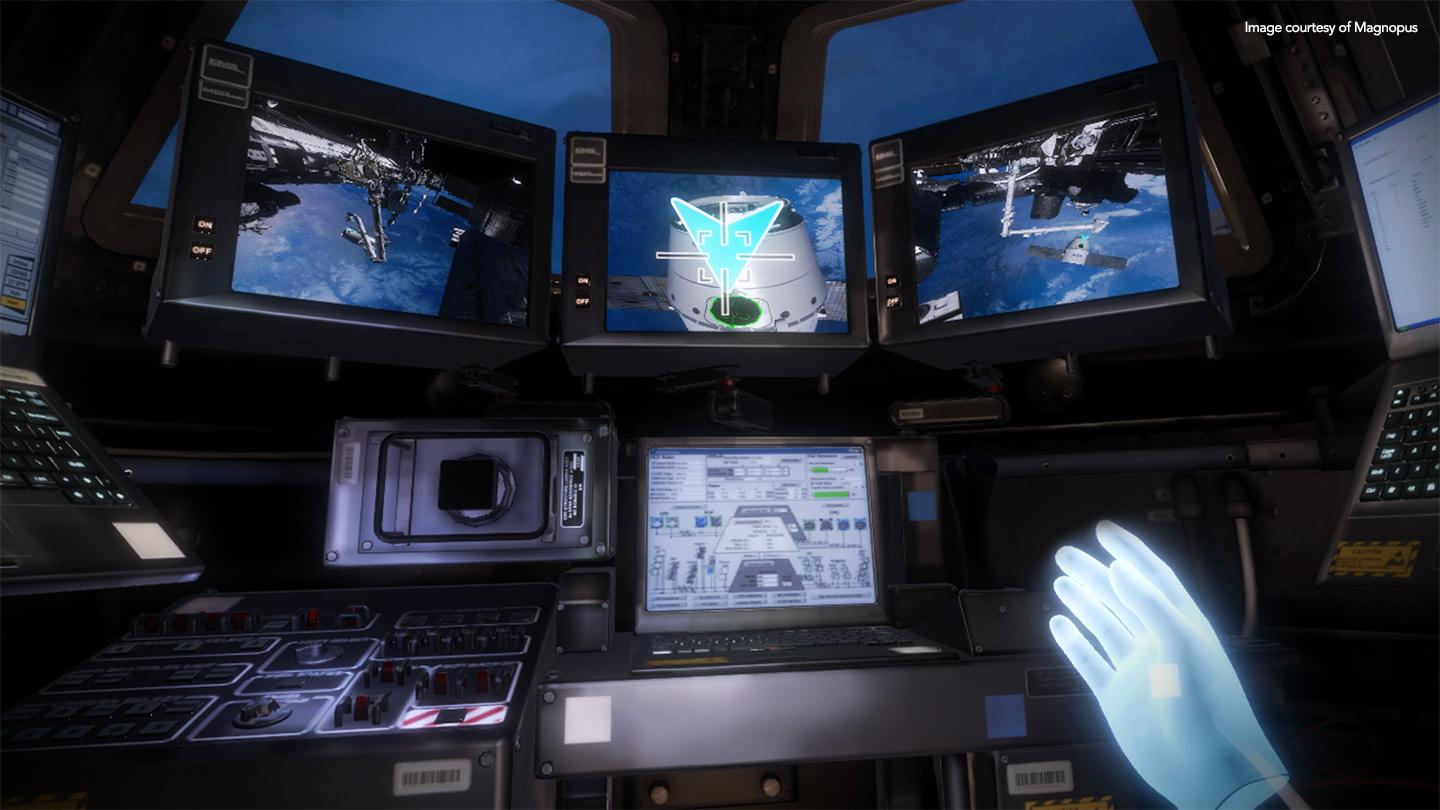 Screens and monitors on the spaceship