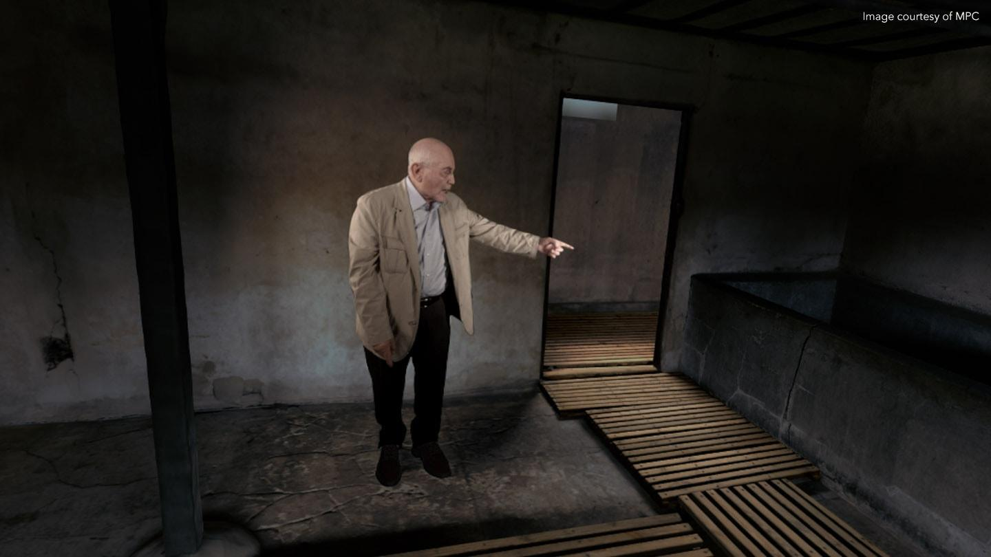 An old man in 3D reality
