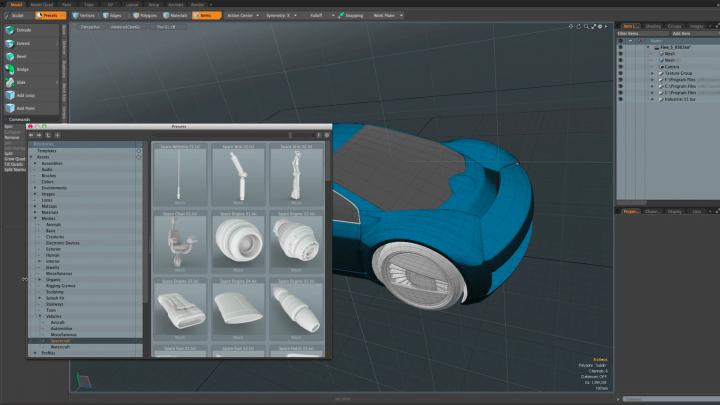Hundreds of useful preset modules in Modo make it easier and faster to model and sculpt