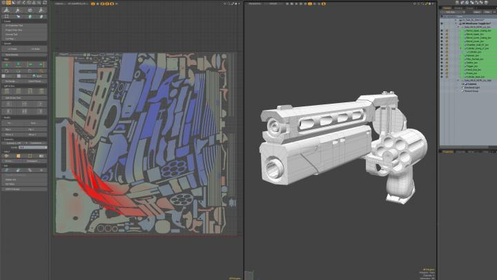 Pistol in 3d UV feature