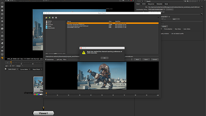 UI and channel improvements in Nuke 11.3