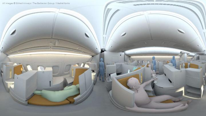360 filming for virtual reality tour of A380 Airbus