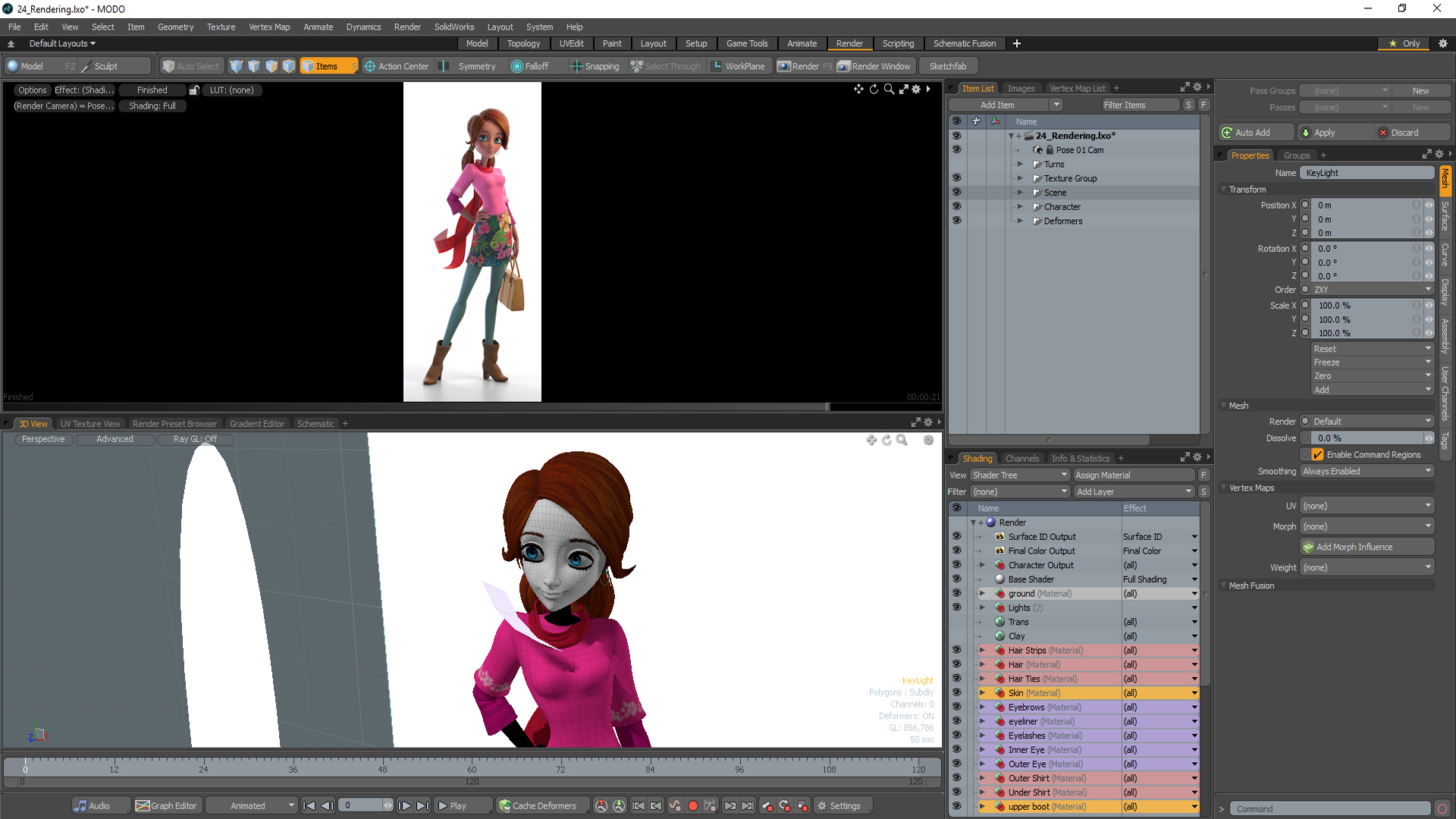 Online training series for 3d character creation in Modo
