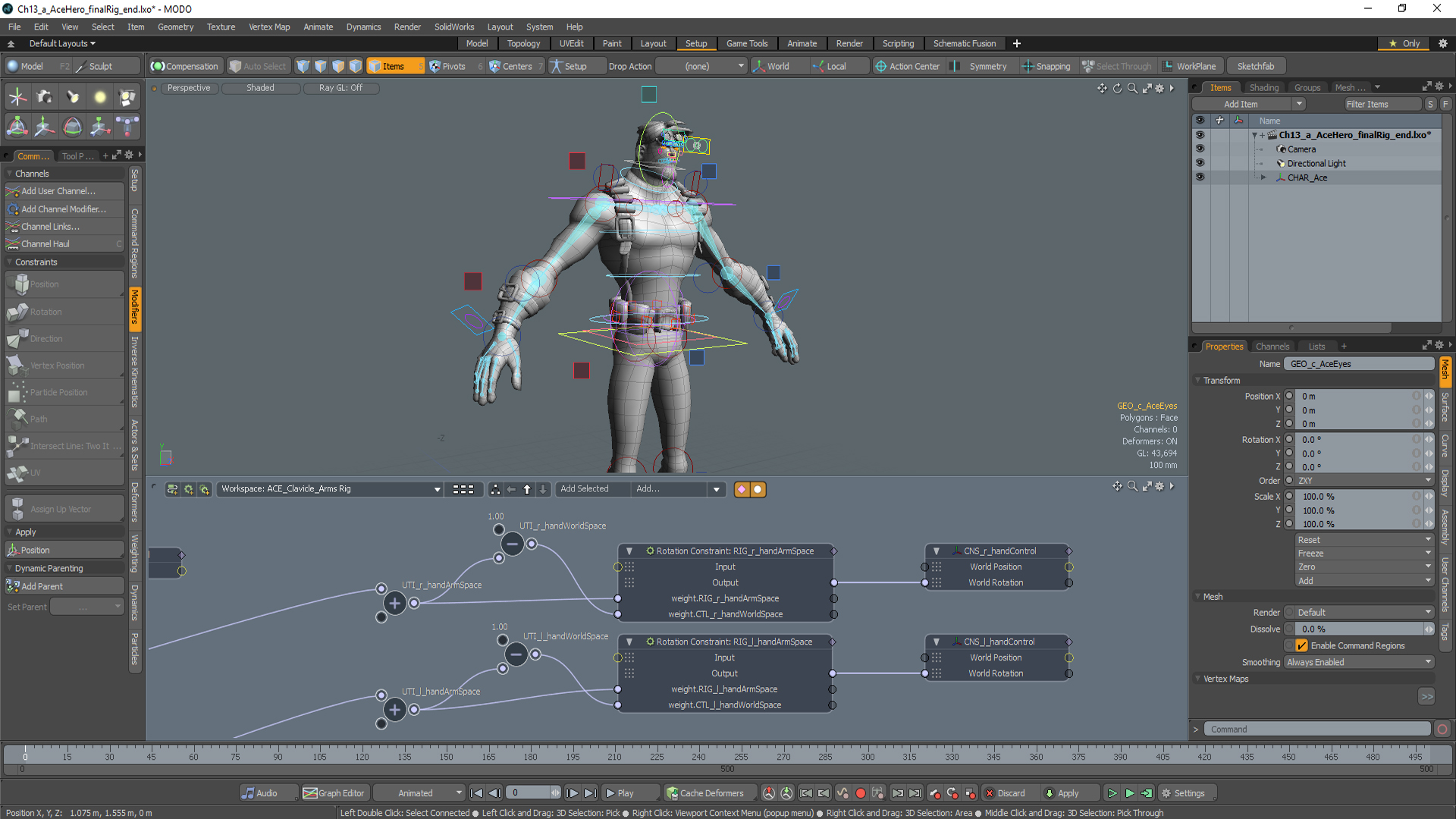 Mesh and character rigging online video series
