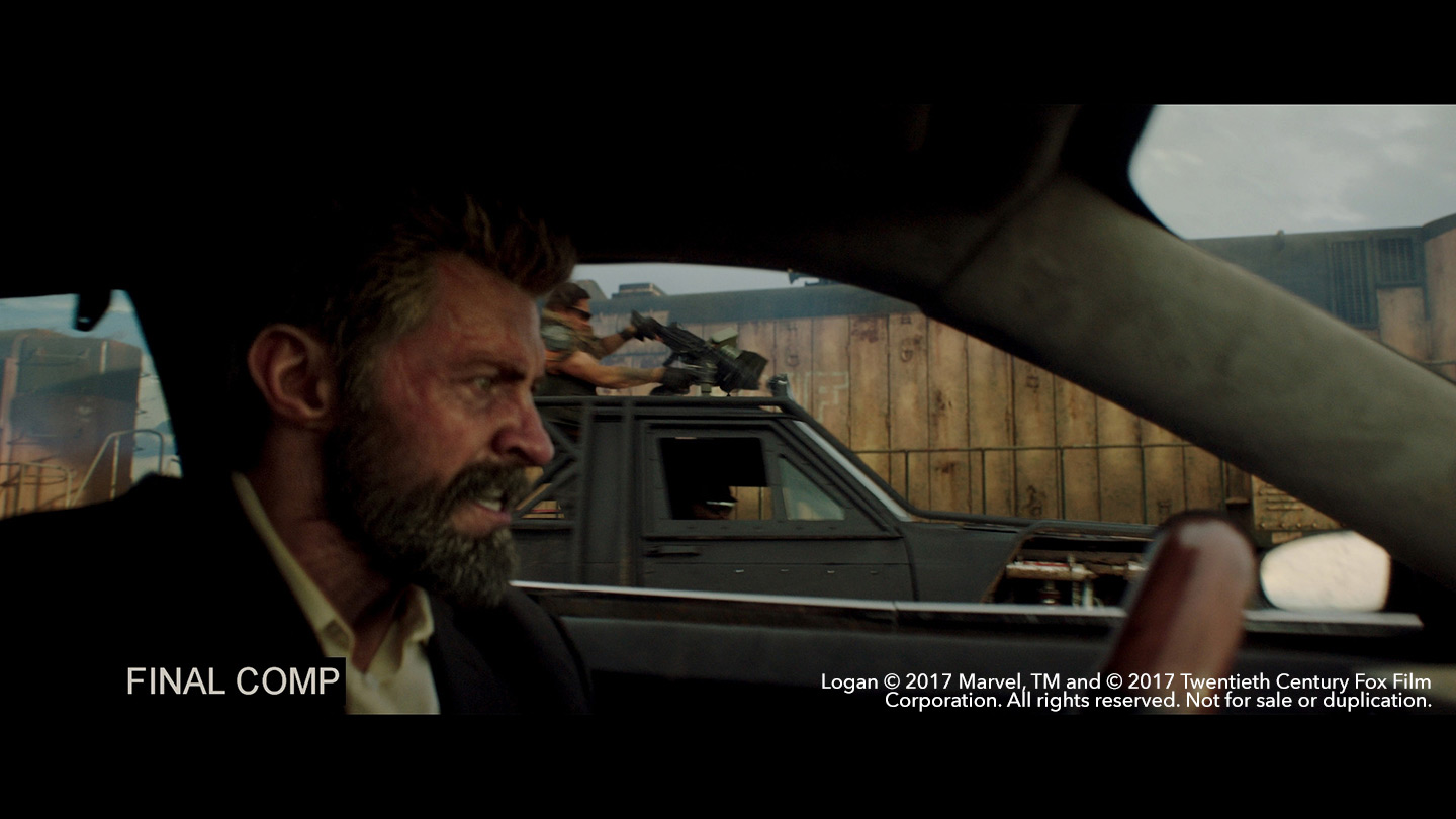 Hugh Jackman as Logan in a car after rendering